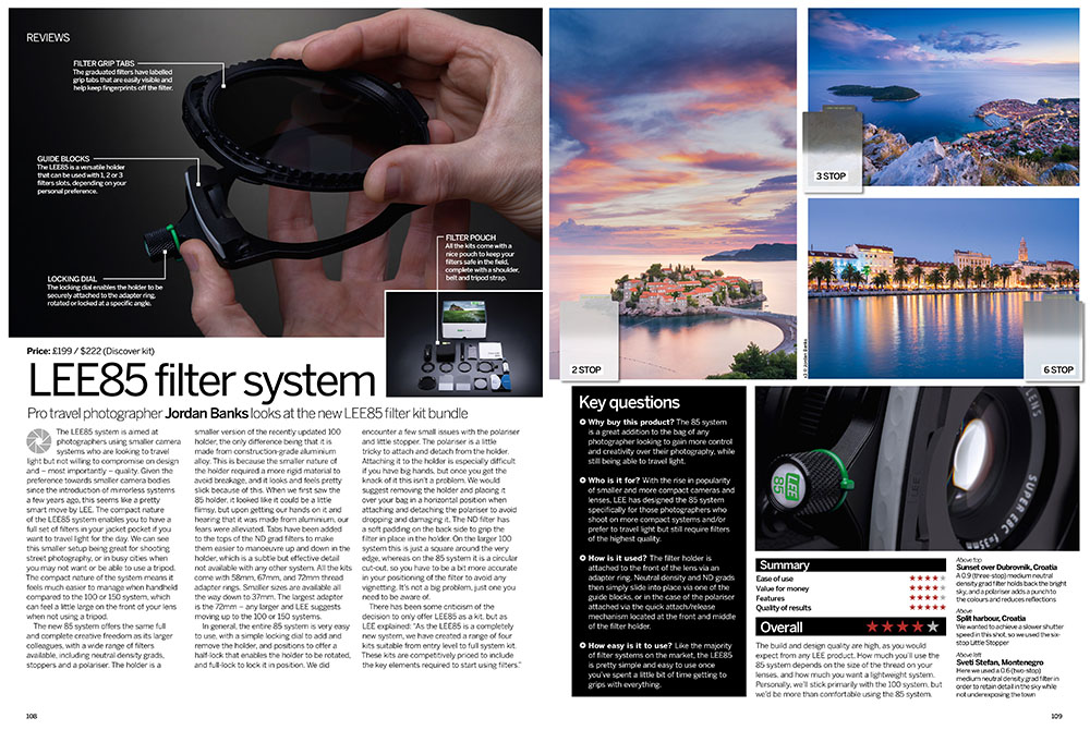 Lee Filters review for Digital Photographer magazine