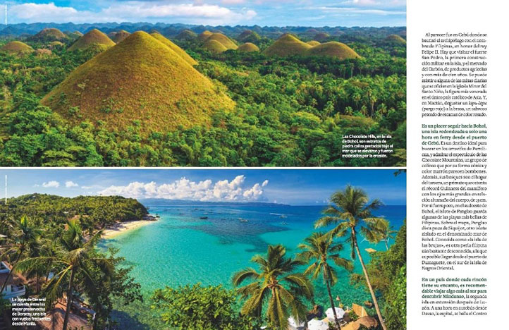 Chocolate hills in the Philippines in National Geographic viajes magazine